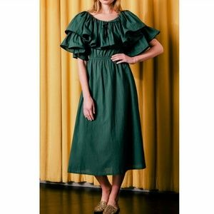 Rhode Resort Blanca Hunter Tiered Green Dress XS